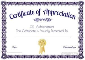 Certificate Of Appreciation Template, Certificate Of In Certificate Of Appreciation Template Free Printable