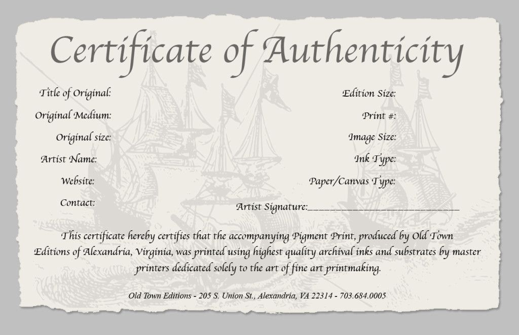 Certificate Of Authenticity Of A Fine Art Print For Professional Certificate Of Authenticity Template