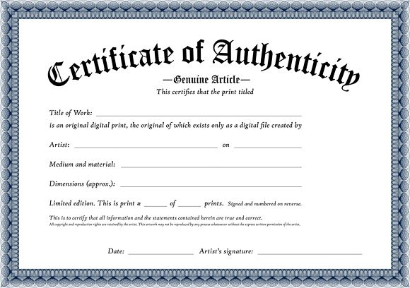 Certificate Of Authenticity Of An Original Digital Print Within Professional Certificate Of Authenticity Template