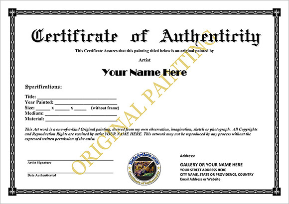 Certificate Of Authenticity Templates Word Excel Pdf Formats Intended For Certificate Of Authenticity Template