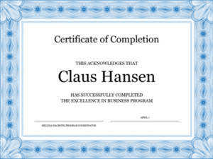 Certificate Of Completion (Blue) In Certification Of Completion Template