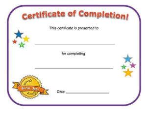 Certificate Of Completion | Certificate Of Achievement For Certificate Of Achievement Template For Kids