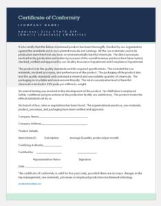 Certificate Of Conformity Template For Word | Word & Excel Pertaining To 11+ Certificate Of Conformity Template Free