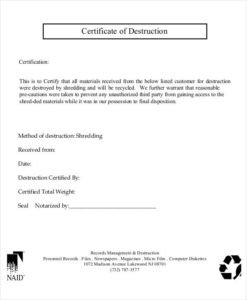 Certificate Of Disposal Template (6) Templates Example With Regard To Free Certificate Of Destruction Template