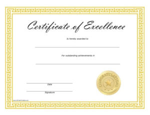 Certificate Of Excellence Free Printable Intended For Certificate Of Excellence Template Free Download