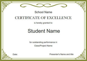 Certificate Of Excellence,Free Certificate Templates Regarding Professional Certificate Templates For School