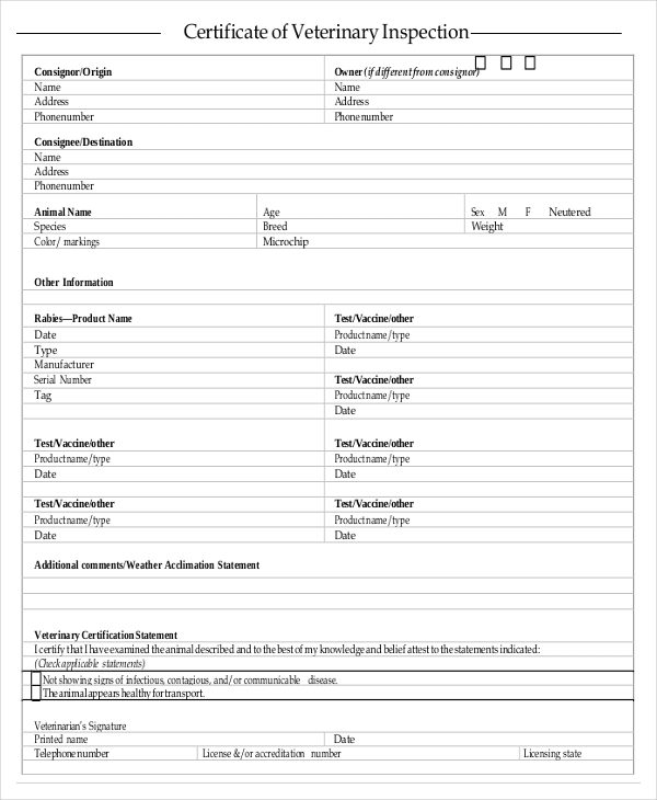 Certificate Of Inspection Template (7) Templates Example In Quality Certificate Of Inspection Template