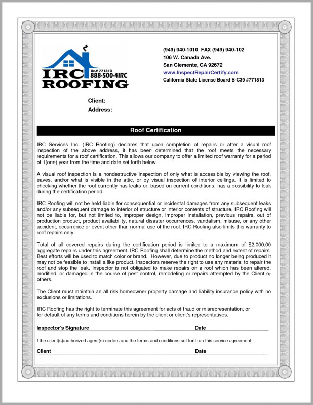 Certificate Of Inspection Template Awesome Roof Inspection Throughout Certificate Of Inspection Template