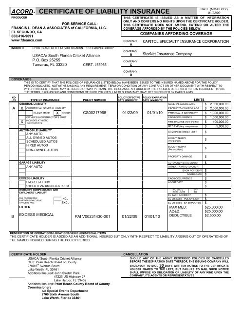 Certificate Of Liability Insurance Pertaining To Free Certificate Of Liability Insurance Template
