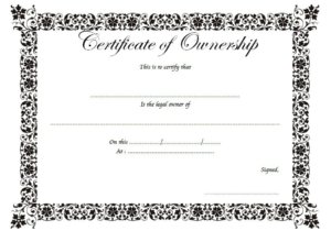 Certificate Of Ownership Of Property Free Printable 1 In Pertaining To Ownership Certificate Template