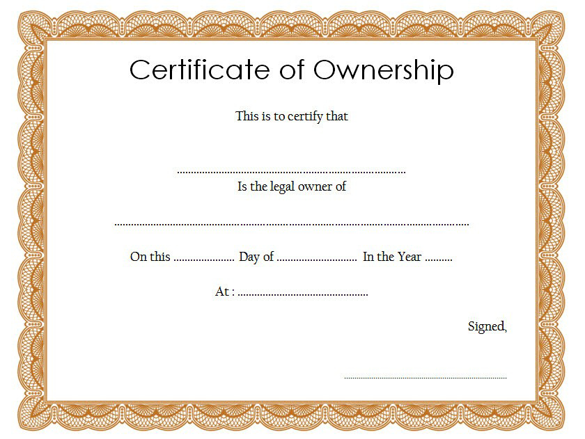 Certificate Of Ownership Template (2) Templates Example In Professional Ownership Certificate Template