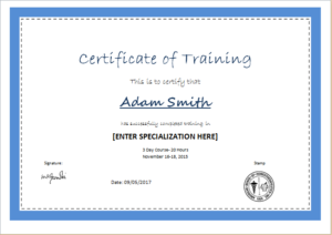 Certificate Of Training Template For Ms Word   Document Hub With Regard To Professional Free Certificate Templates For Word 2007