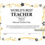 Certificates For Teachers: The World'S Best Teacher Award Intended For Best Teacher Certificate Templates Free