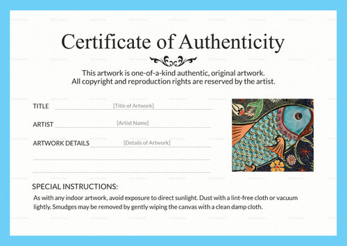 Certificates Of Authenticity For Artists   Artsy Shark For Certificate Of Authenticity Template
