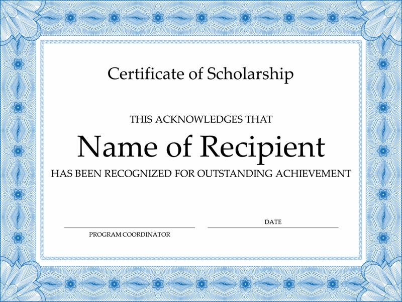 Certificates Office Inside Scholarship Certificate Template Word