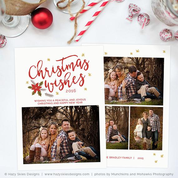 Christmas Card Template For Photographers, Christmas Card Template For Photoshop, Holiday Card Template, Christmas Card Digital Hc291 Regarding Holiday Card Templates For Photographers