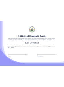 Community Service Certificate Template Pdf Templates   Jotform Within Free Recognition Of Service Certificate Template