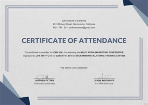 Conference Certificate Of Attendance Template In 2020 Within Free Certificate Of Attendance Conference Template