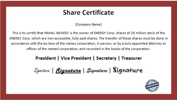 Customizable Business Share Certificate Templates | Word With Regard To Best Template Of Share Certificate