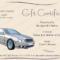 Customizable Motor Car Gift Certificate Template Inside Automotive Gift Certificate Template