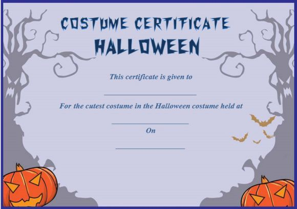 Cutest Halloween Costume Certificate Template | Certificate For Halloween Certificate Template