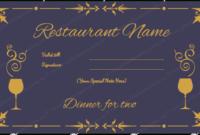 Dinner Certificate Template Free In 2020   Certificate With Regard To Dinner Certificate Template Free
