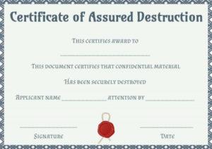 Dvla Certificate Of Destruction Template | Certificate Of Regarding Free Certificate Of Destruction Template