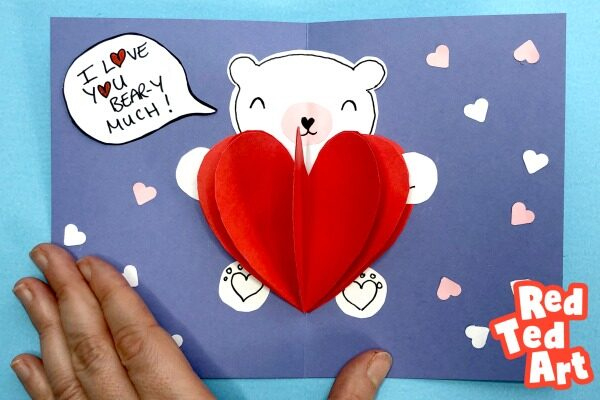 Easy Pop Up Bear Heart Card Red Ted Art Make Crafting With Free Teddy Bear Pop Up Card Template Free