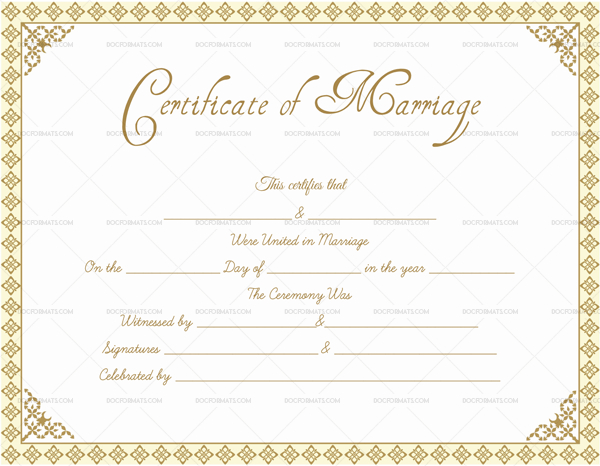 Editable Marriage Certificate Templates (Make Your Own For Certificate Of Marriage Template