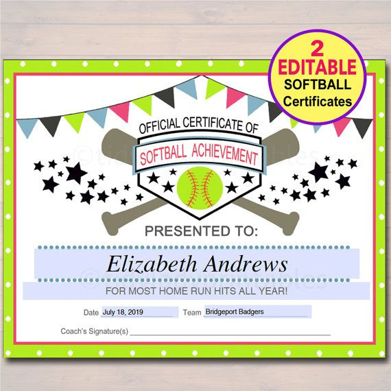 Editable Softball Certificates Instant Download Softball Regarding Free Softball Certificate Templates