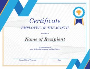 Employee Of The Month Certificate Regarding Employee Of The Month Certificate Templates