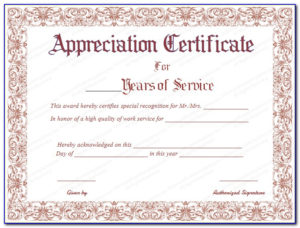 Employee Years Of Service Recognition Certificate Template Pertaining To Recognition Of Service Certificate Template