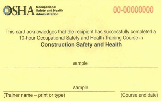 Equipment Operator Certification Card Template Inspirational In Osha 10 Card Template