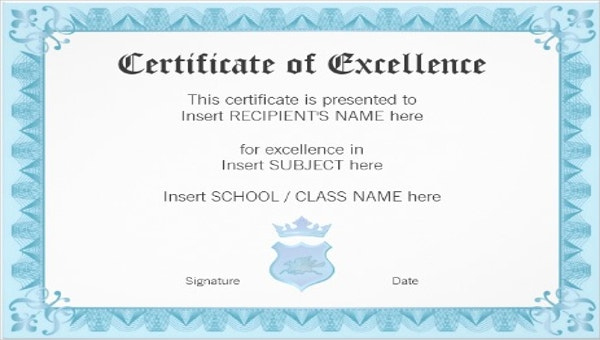 Excellence Certificate Template 24+ Word, Pdf, Psd Format Regarding Academic Award Certificate Template