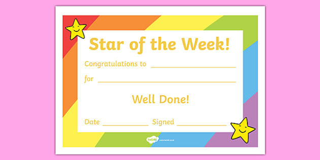 👉 Star Of The Week Certificate | Teaching Resources Throughout Star Of The Week Certificate Template