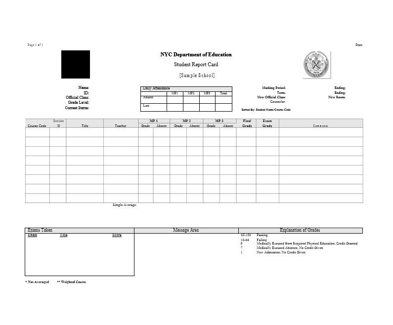 Fake College Report Card Template (4) Templates Example Within Best Fake Report Card Template