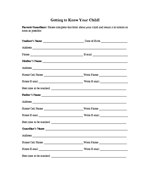 Family Information Form Template | Education World With Regard To Free Student Information Card Template