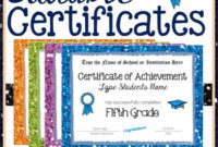 Fifth Grade Editable Graduation Certificates Glitter Borders Within Best 5Th Grade Graduation Certificate Template
