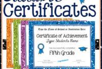 Fifth Grade Editable Graduation Certificates Glitter Borders Within Best 5Th Grade Graduation Certificate Template
