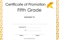 Fifth Grade Promotion Certificate Printable Certificate With Regard To 5Th Grade Graduation Certificate Template
