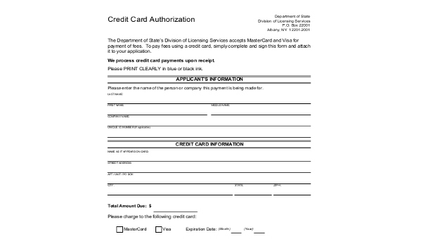 Free 10+ Sample Credit Card Authorization Forms In Ms Word In Free Credit Card Payment Form Template Pdf