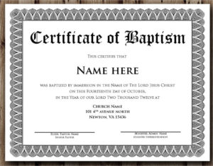 Free 20+ Baptism Certificate Samples In Psd   Pages   Ms With Regard To Free Christian Baptism Certificate Template
