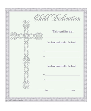 Free 6+ Baby Dedication Certificate Templates In Pdf With Baby Dedication Certificate Template