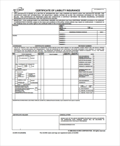 Free 6+ Sample Certificate Of Liability Insurance Forms In In Free Certificate Of Liability Insurance Template
