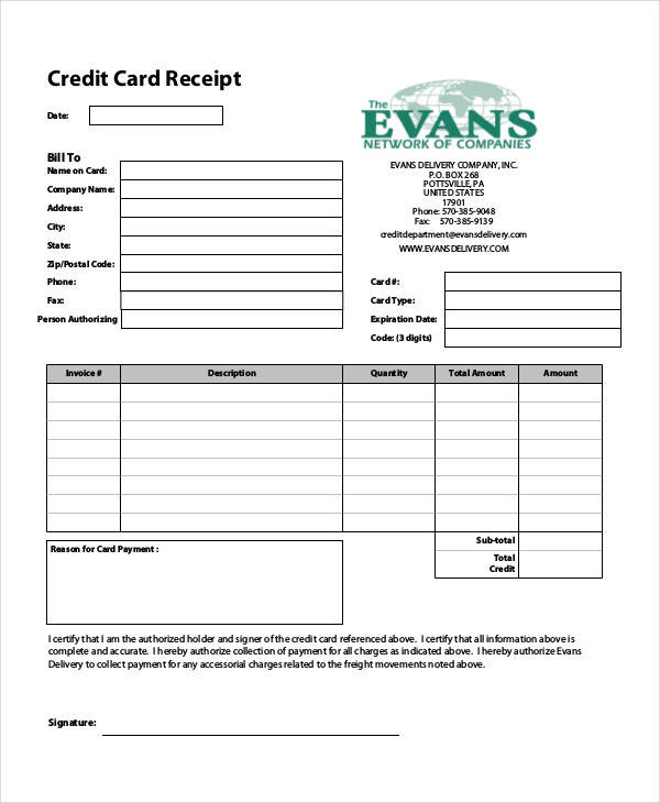 Free 8+ Credit Card Receipt Templates In Pdf In Printable Credit Card Receipt Template