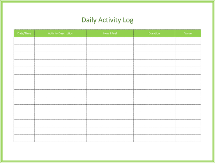 Free Activity Log Templates To Keep Track Your Activity Logs Inside Gift Certificate Log Template