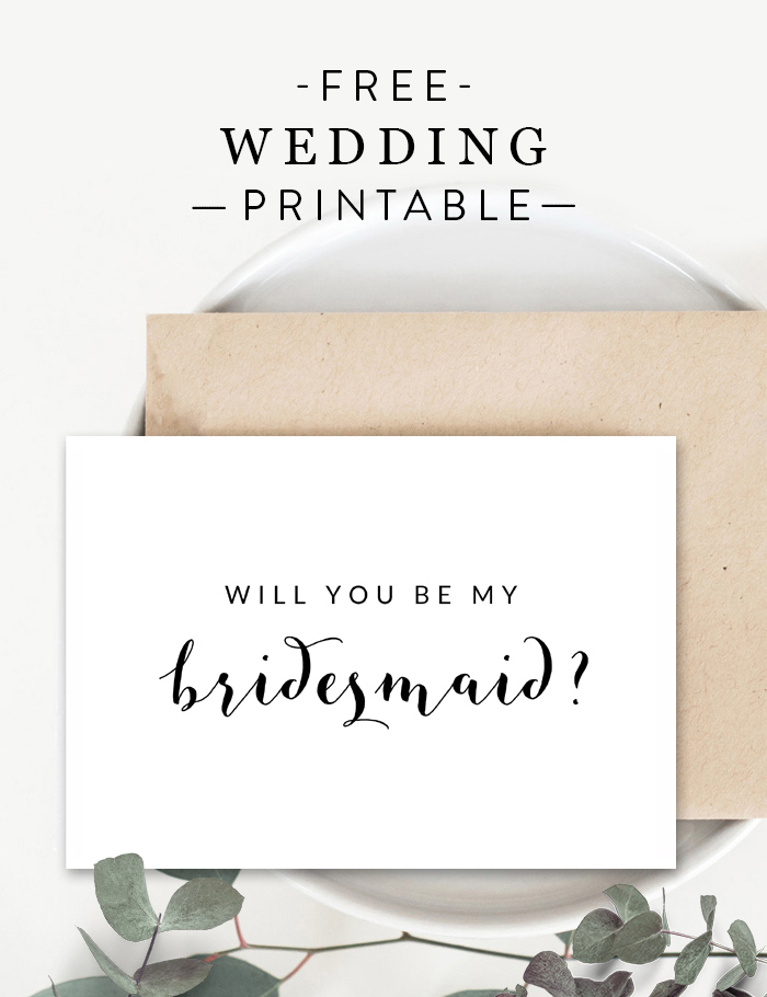 Free Black And White Printable Wedding Will You Be My For Will You Be My Bridesmaid Card Template