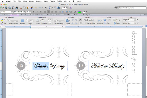 Free Elegant Printable Place Cards Intended For 11+ Free Place Card Templates Download