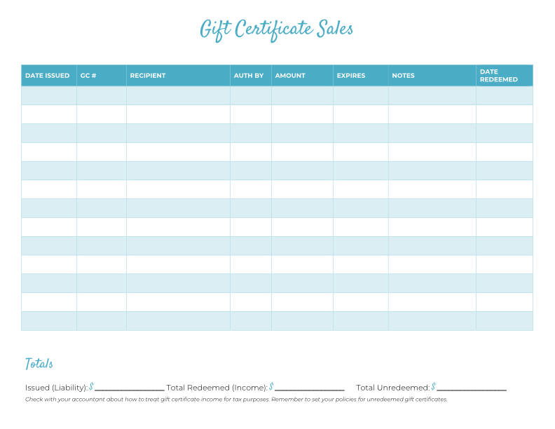 Free Gift Certificate Templates For Massage And Spa Within Printable Gift Certificate Log Template