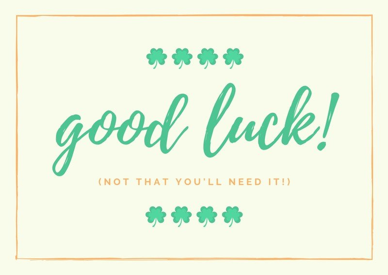 Free Good Luck Cards Templates To Customize | Canva Throughout Good Luck Card Template